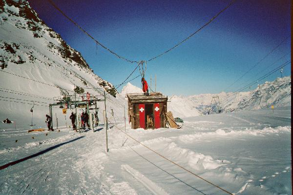 links die Talstation vom Testa 1, rechts ist der SL Gandegg zu sehen